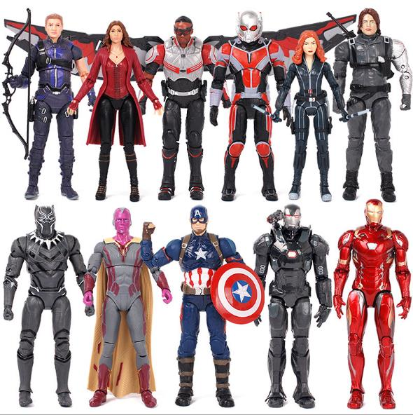 NEW hot 17cm Captain Civil War avengers Iron man Black Panther Winter Soldier Vision action figure toys Christmas with box