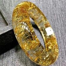 Женский браслет из натурального золота с рутилированным кварцевым кристаллом AAAAA внутренний диаметр 57 мм