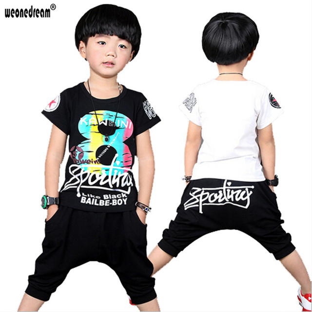 e6d7e61337 US $22.88 |WEONEDREAM New Fashion Summer Children Kids Clothes Boys Short  Sleeve Letter Printed Cotton T shirt + Pants Suits Sets-in Clothing Sets ...