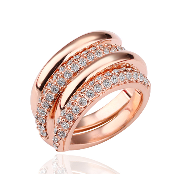 rose multilayer plated ring spiral austrian for women rings luxury gold item engagement exquisite crystal jewelry wedding