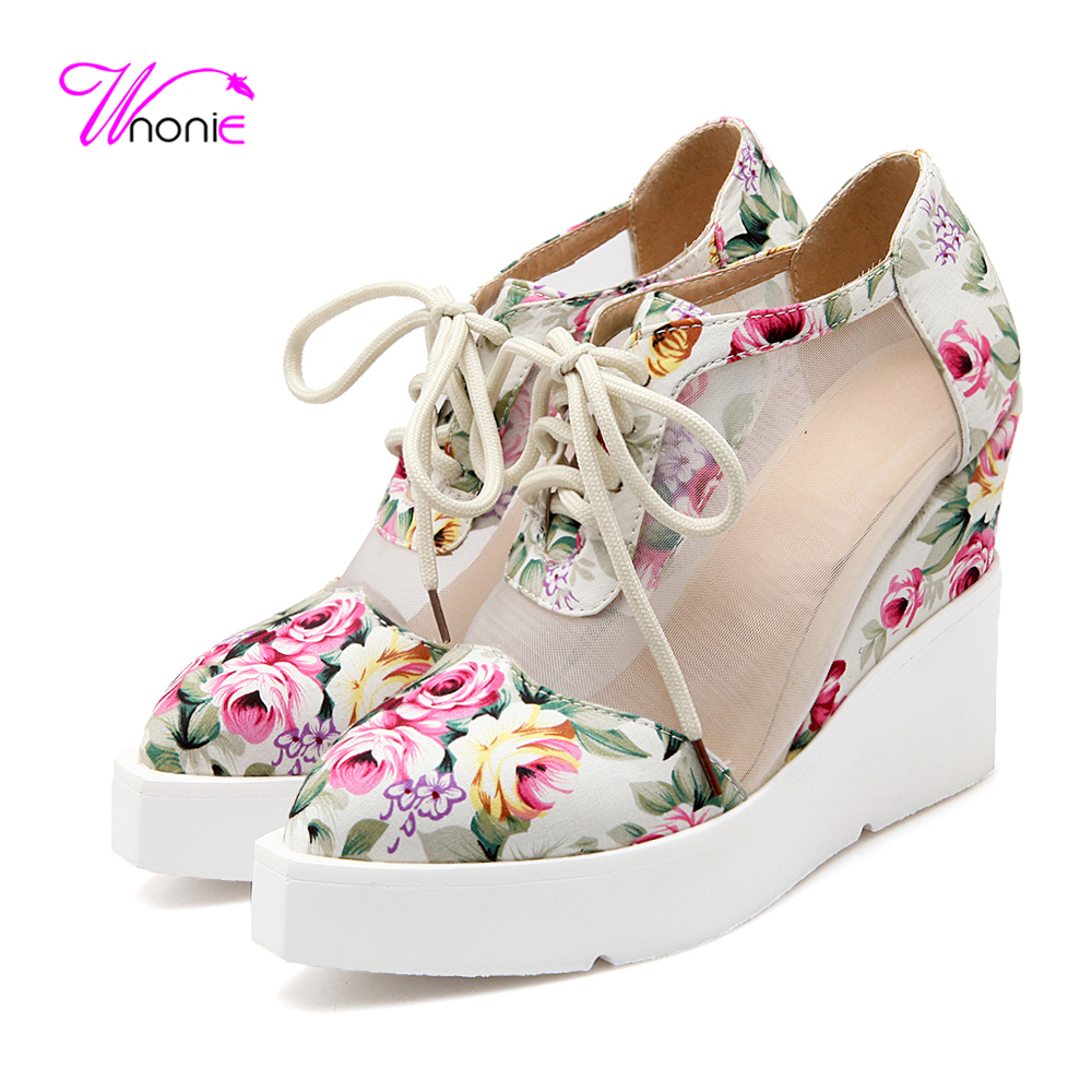 ФОТО 2017 Fashion Woman's Sandals Floral PU Leather Air Mesh High Platform Wedege Punk Daily Casual Party Summer Autumn Ladies Shoes