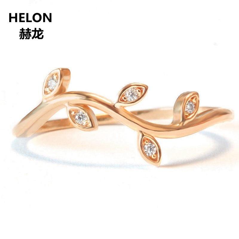 Mini feuille branche mariage bande Art Nouveau bague solide 14 K or Rose pavé diamant fiançailles femmes bague mariage empilable