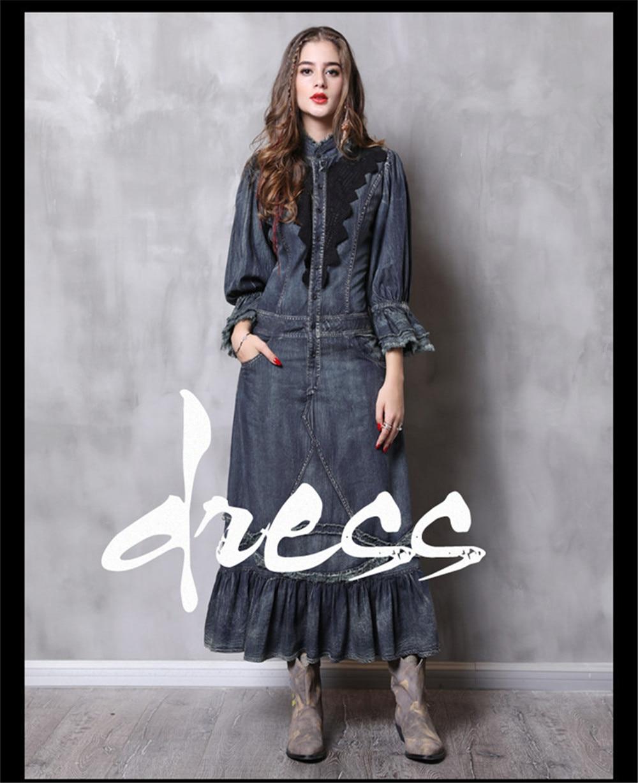Vintage Autumn Dress Women With Pockets 2018 New Denim Dresses Stand Collar Long Elegant Lace Patchwork Vestidos Femininos (1)