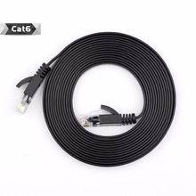 5M 15FT  Pure copper wire CAT6 Flat UTP Ethernet Network Cable RJ45 Patch LAN cable black white color