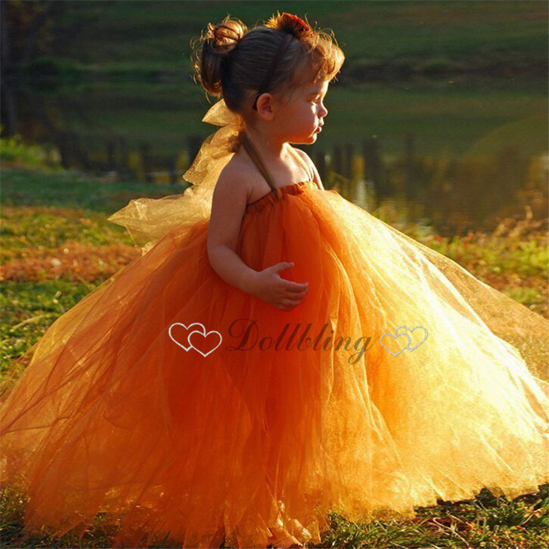 все цены на  Dollbling Bridal Orange girl Wedding dress Lace Mesh Organza Christening Princess dress First date girl dress  онлайн