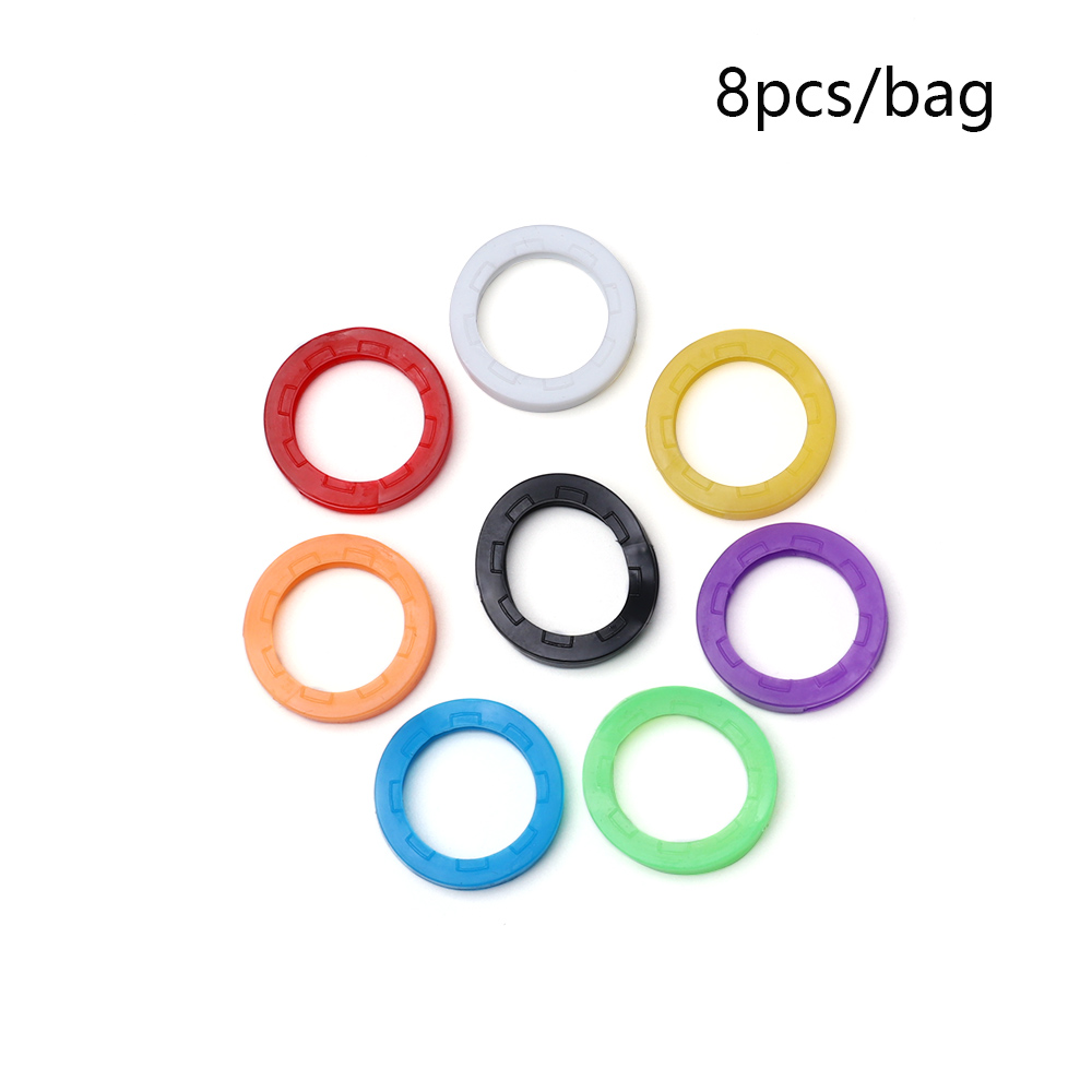 Candy Color Hollow Silicone Key Cap Covers Topper Keyring Circle Holder LOT OF 8
