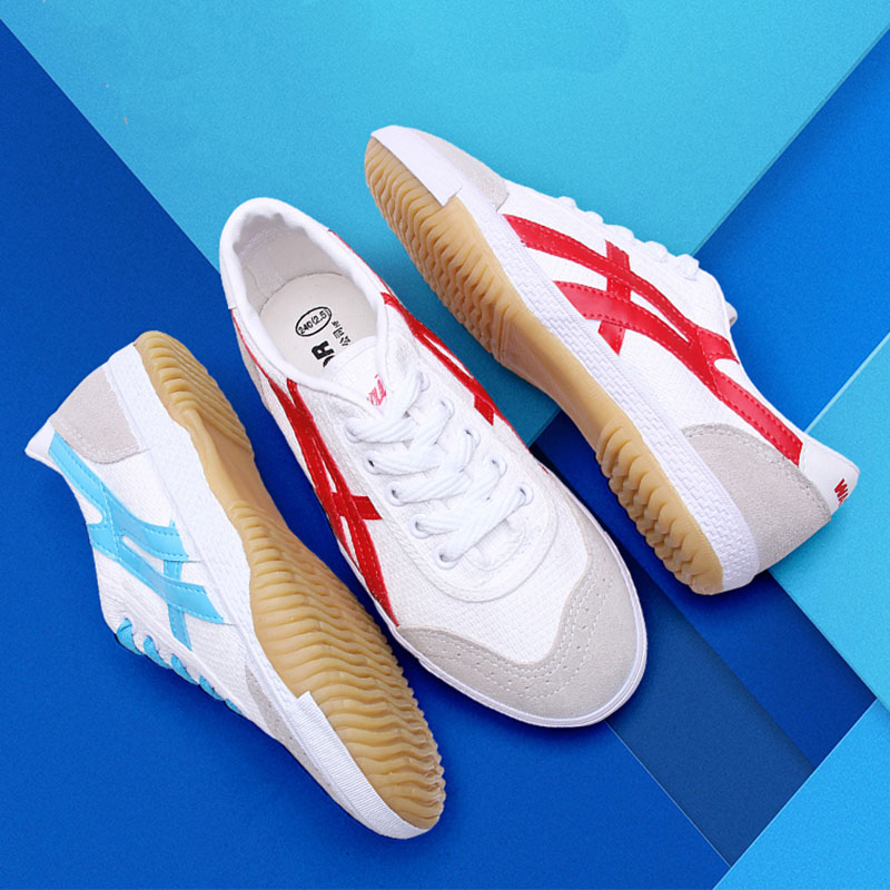 USHINE EU34-44 Quality Red Blue Canvas Warrior Classic Retro Table Tennis Shoes Fitness KungFu TaiChi Shoes For Man Women image