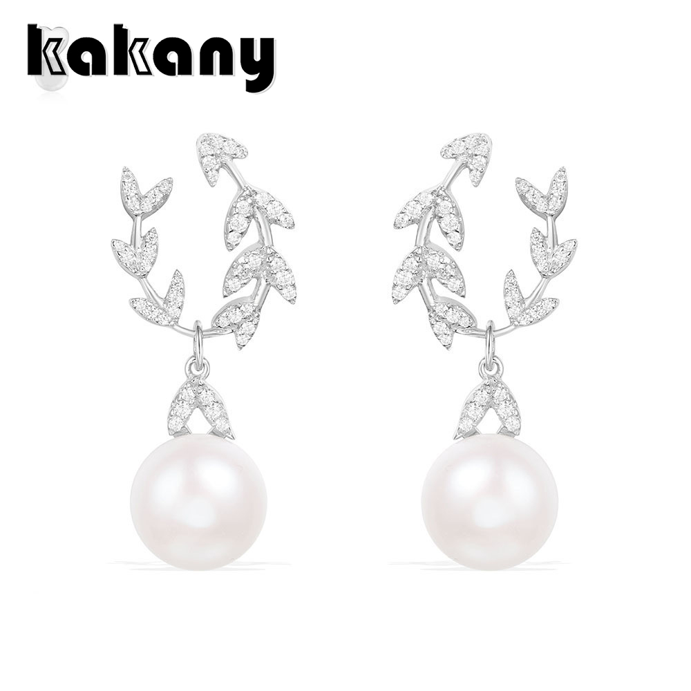 KAKANY 925 sterling silver Diamond ETERNELLES petal earrings with pearls Original high quality 1:1 fashion jewelleryAE10973XPLKAKANY 925 sterling silver Diamond ETERNELLES petal earrings with pearls Original high quality 1:1 fashion jewelleryAE10973XPL