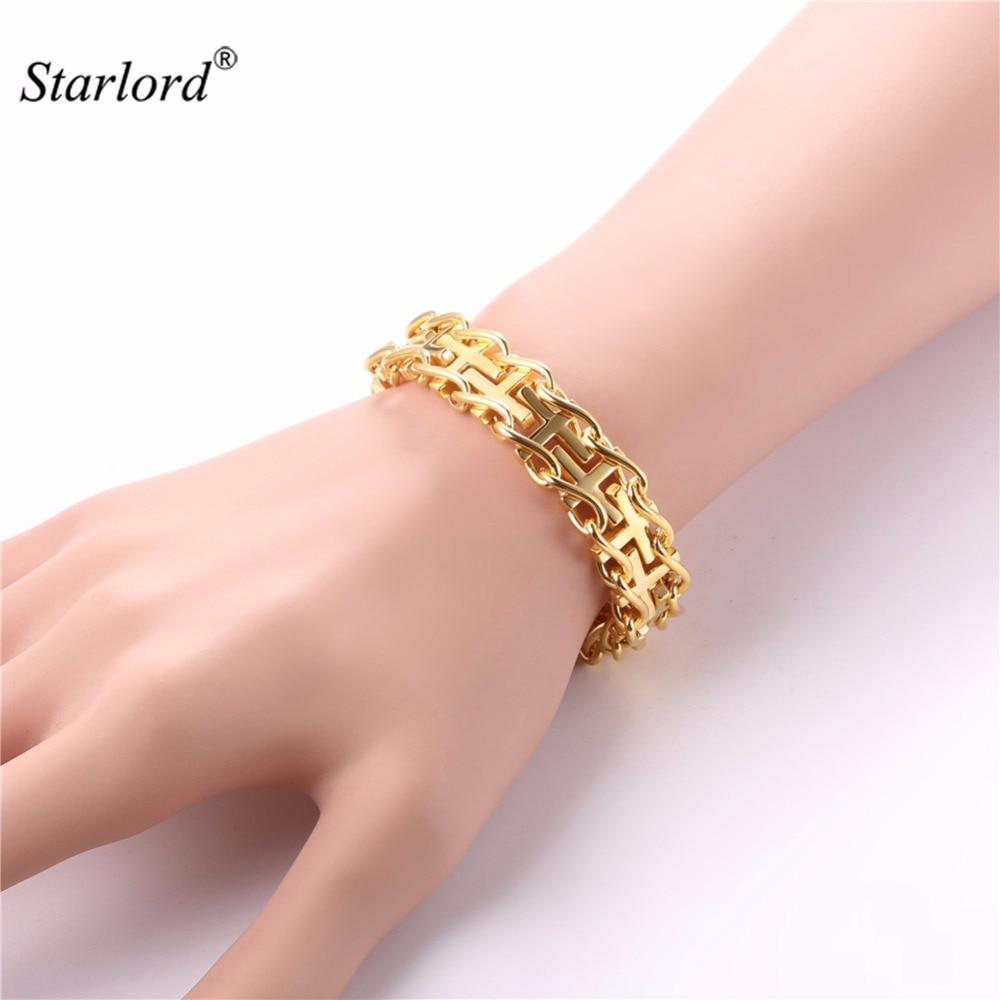 Starlord Cross Bracelet Christian Jesus Hand Chain 21CM Gold/Black ...