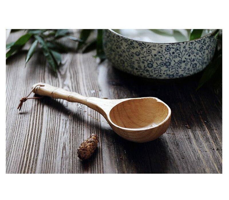 Японская ложка для супа, большая и длинная ручка бамбуковая ложка, ложка для горячего горшка, ложка для каши, ложка для риса и воды большая ложка
