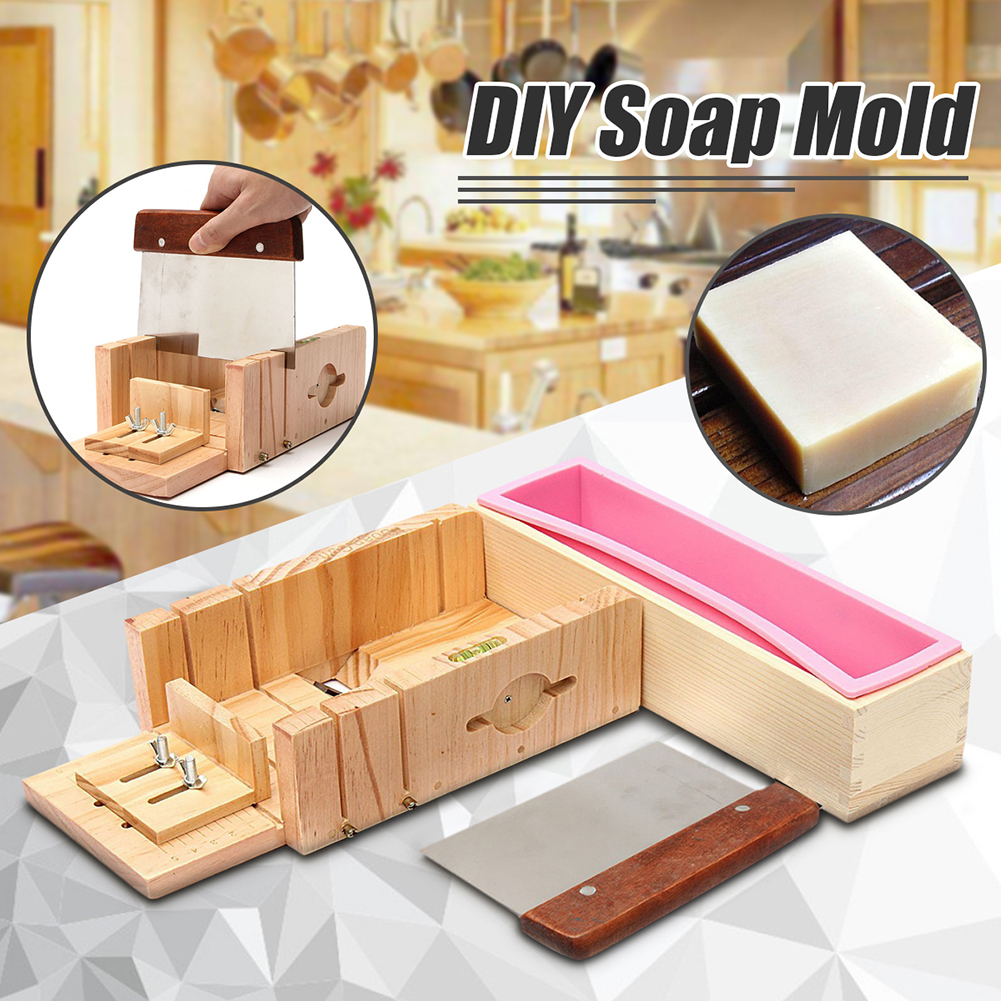 Silicone Soap Mold With Wooden Box Eco-friendly Rectangle Silicone Soap Loaf Mold Wooden Box For Making Loaf Swirl Soap