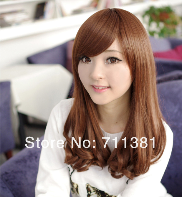 Free Shipping The Korean Wig Long Curly Hair Fluffy Sarkozy Bangs