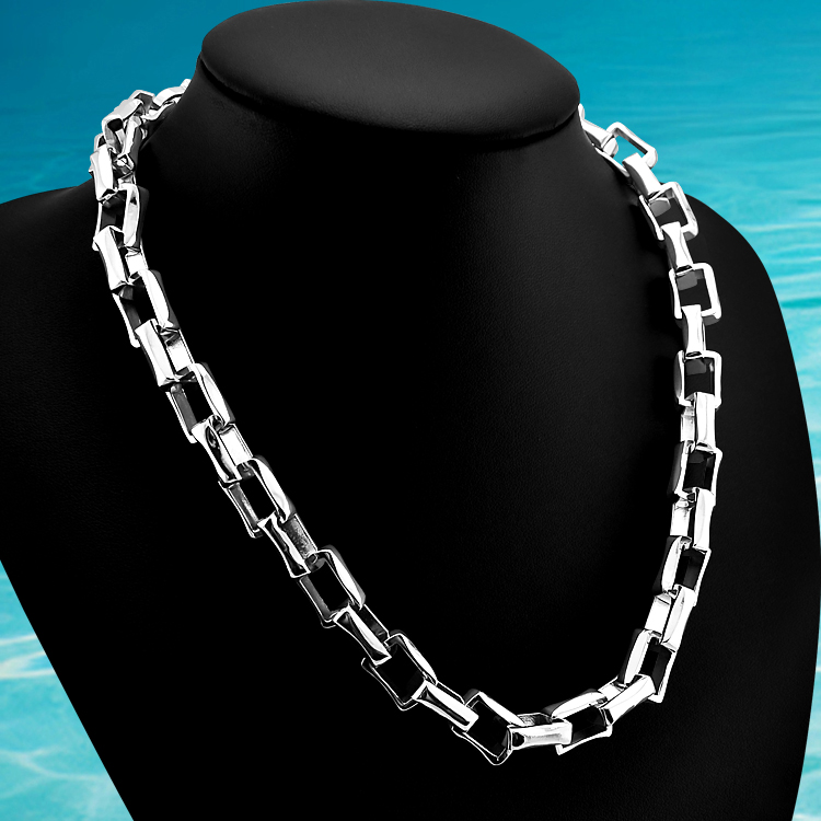 New brand jewelry cool men necklace.925 sterling silver Rectangular chain. thickness chain men jewelry.
