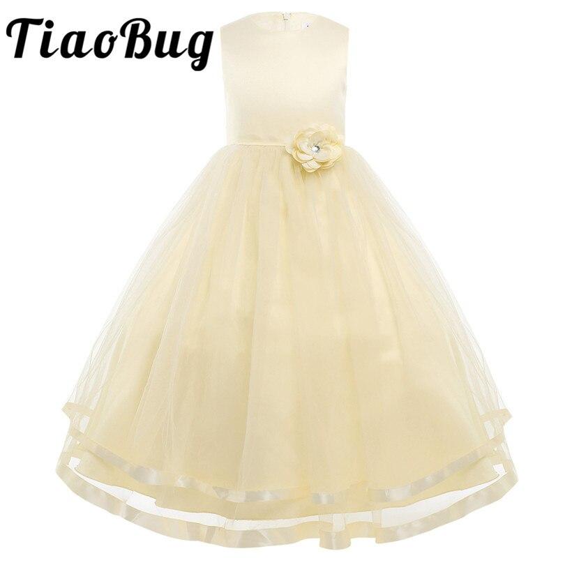 Tiaobug Stickerei Blume Mädchen Kleid Für Hochzeiten Braut Ballkleid Mädchen Party Erstkommunion Pageant Partei Prinzessin Kleid Weddings & Events Blumenmädchen Kleider