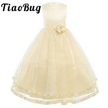 Elfenbein/Weiß Pageant Formale Blumenmädchenkleider Lange Für Hochzeiten Kinder Infant Partei Prom Ballkleid Erstkommunion Kleider