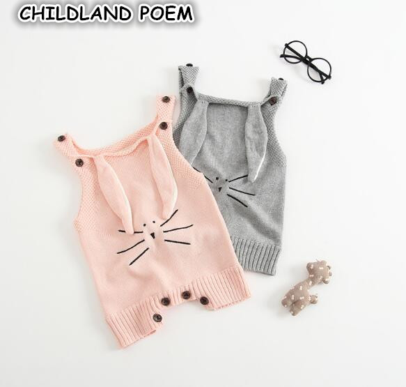 852f4230ef15 autumn baby romper rabbit newborn infant baby crochet knitted romper  jumpsuit cotton woolen baby overalls baby boys girl clothes
