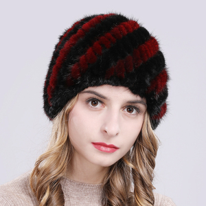 Image 5 - Russia New Winter Lady Natural Mink Fur Beanies Hat Knit Warm Striped Genuine Mink Fur Caps Women Good Elastic Real Mink Fur Hat