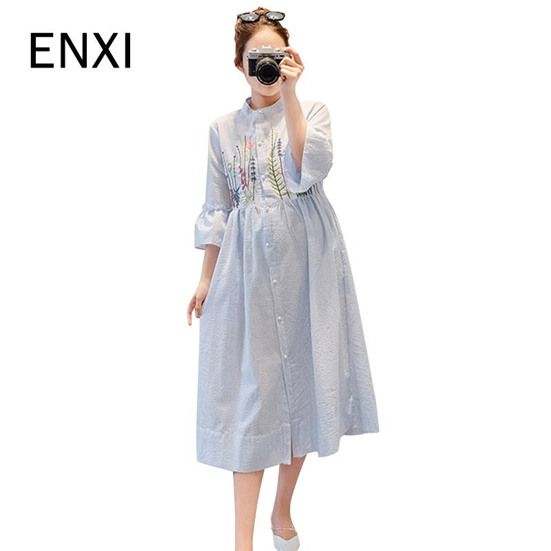 Summer Embroidery Cotton Linen Nursing Clothes Half-sleeved Maternity Dress For Pregnant Women Breast Feeding Long Dresses