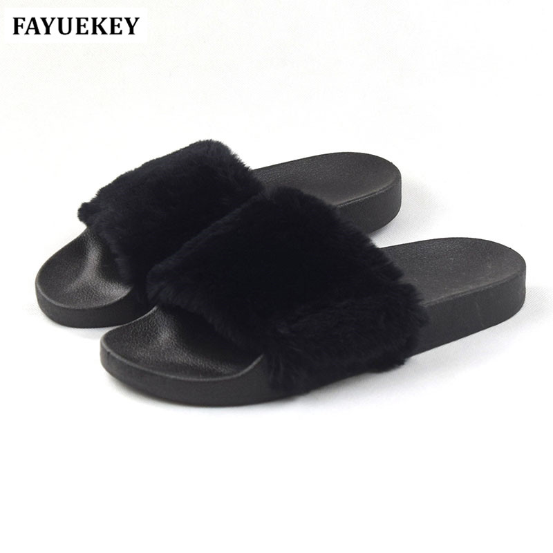 FAYUEKEY New Summer Fashion Home Women Plush Non-slip Faux Fur Slippers Indoor\Floor Outdoor Female Beach Furry Slides Shoes fayuekey new fashion summer home striped linen slippers women indoor floor non slip beach slides flat shoes girls gift