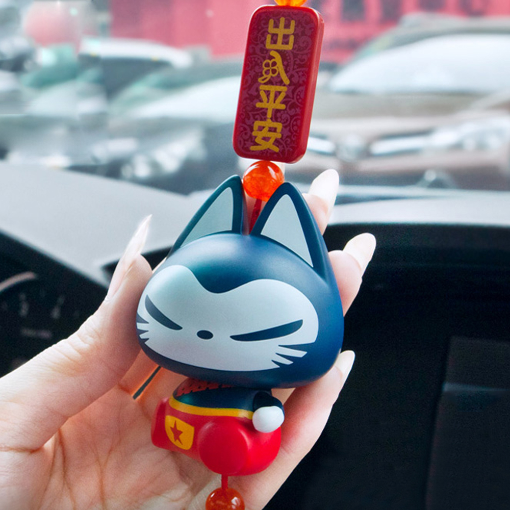 Chinese Style Lucky Cat Hanging Pendant Home Decoration Auto Rearview Mirror Ornament