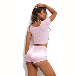 Image 5 - Candy Color Plus Size Wetlook High Waist Booty Shorts Push Up Hip Sexy Hot Short Pole Dance Shiny Micro Mini Short Clubwear Pink