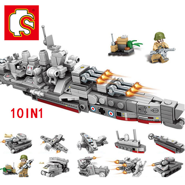 SEMBO Technic Boat Tank Building Blocks Bricks Military War DIY Technician Toys for boys