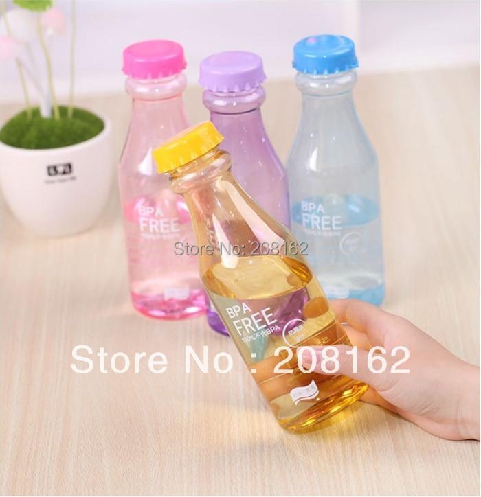 1 Piece Transparent Beverage Colorful <font><b>Water</b></font> Bottles <font><b>Portable</b></font> Unbreakable Sports <font><b>Drink</b></font> <font><b>Cups</b></font> <font><b>Sealed</b></font> Leakproof Kettle Glass 550ml