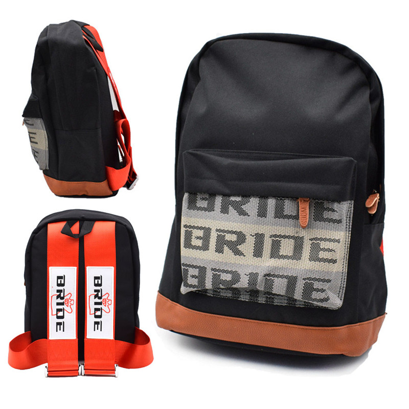 JDM Style Bride Racing Fabric Strap Style School Backpack Car Canvas Backpack Bride Bag Racing Souvenirs