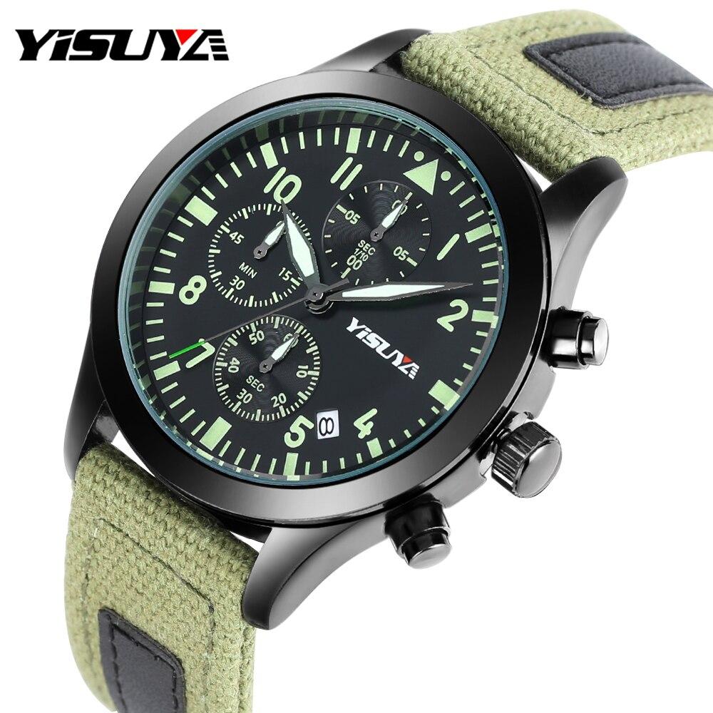 YISUYA Pilot Chronograph Wristwatch Nylon Saati Leather-Band Auto-Date Military Male