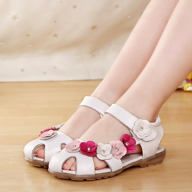 1-14 Years Old Flowers Children Sandals For Girls Genuine Leather Shoes Kids Summer Beach Princess Shoes Infant Girls Sandals F
