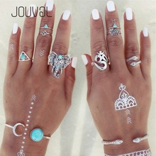 6pcs Rings Set Women Geometric Vintage Silver Open Ring Full Finger Knuckle Midi Ring Sets Female Ring Boho Punk