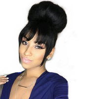 Human Hair Blunt Bangs Short Front Neat Bangs Clip In Bang Fringe Hair Extensions Straight 100% Real Natural Hairpiece Remy