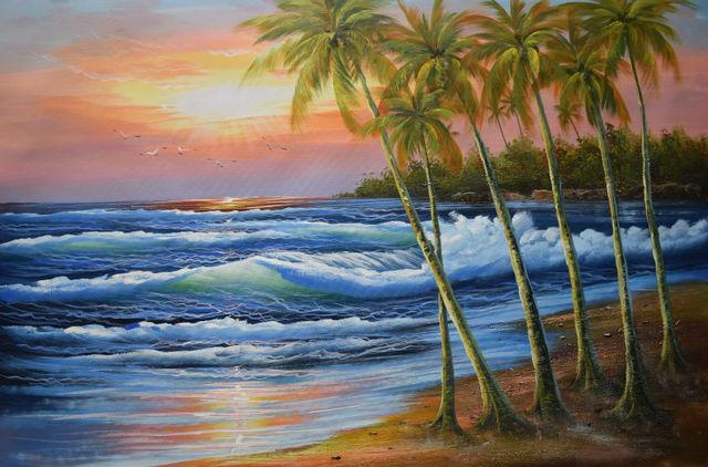 HandPainted Modern Beach Sea Wave Seascape Oil Canvas