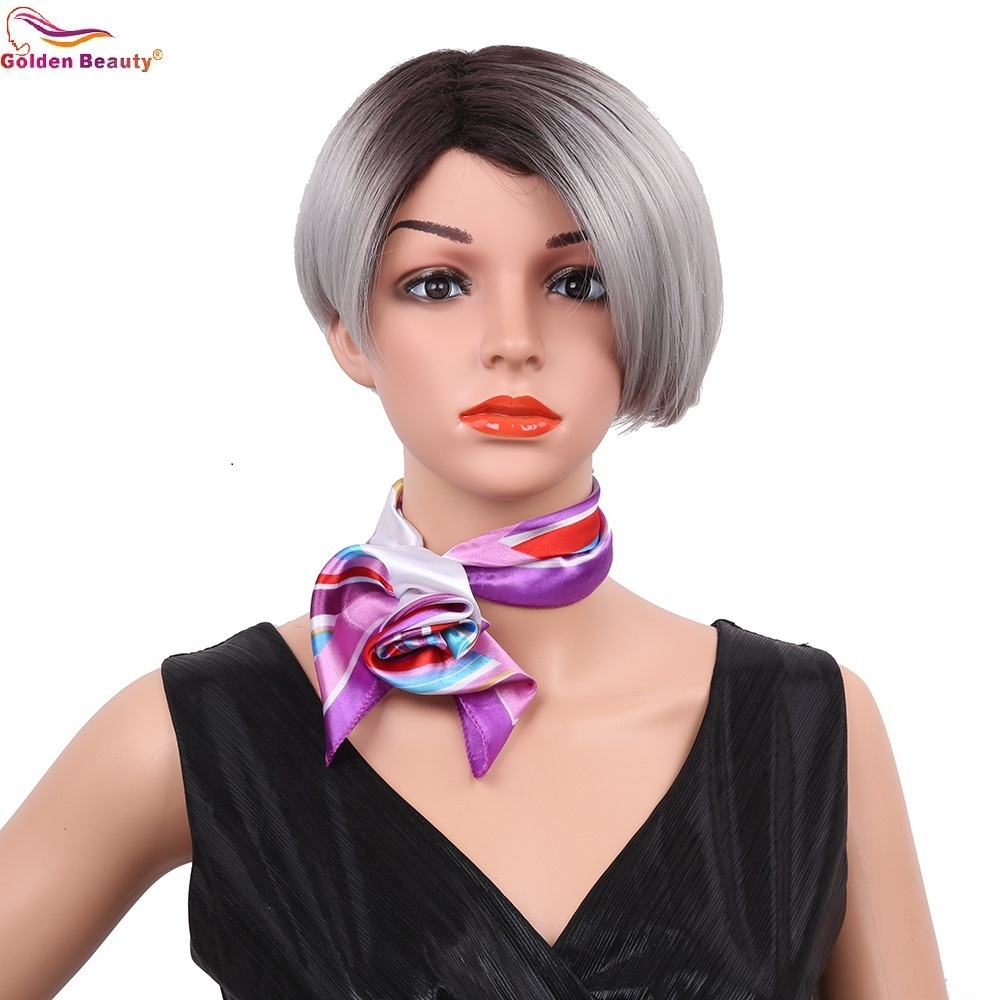 Golden Beauty 8inch Silky Short Straight Synthetic Wigs Side Part Ombre Grey Wine Red Black Full Head Bob Style Wig for Women