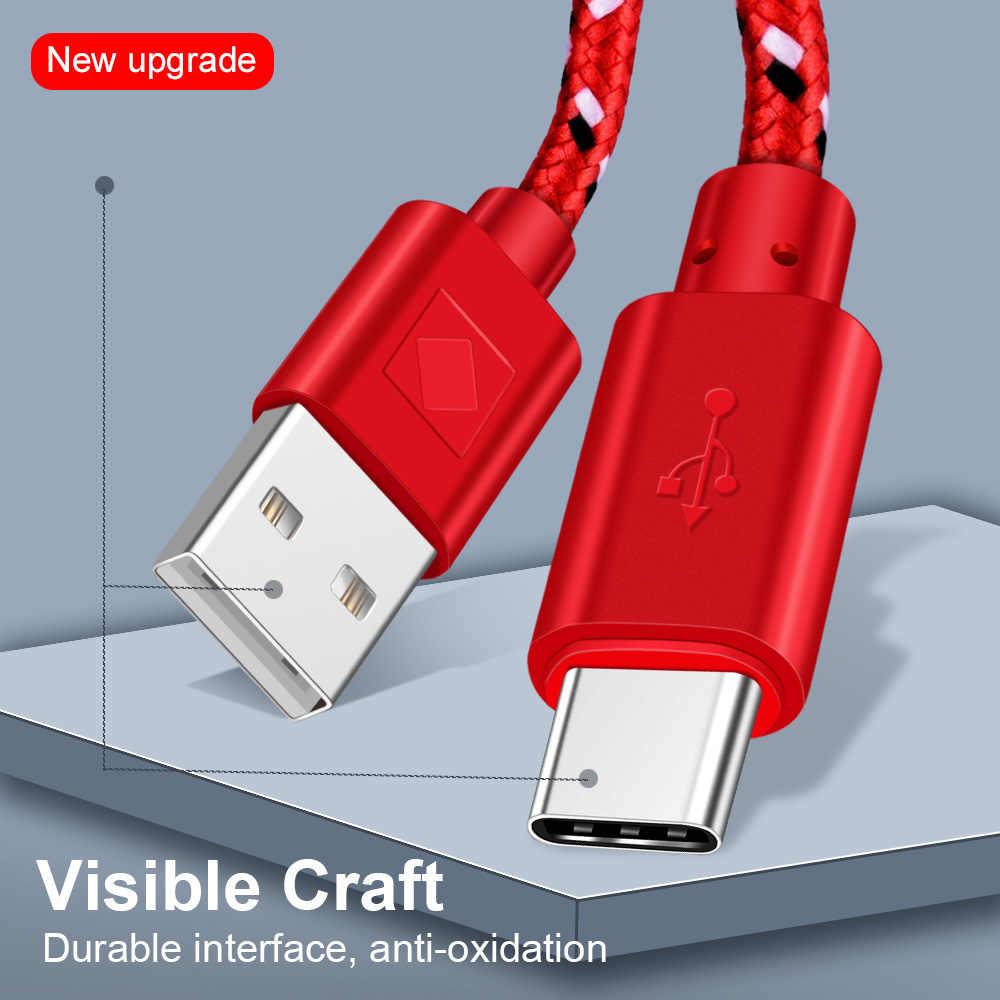 أولاف USB نوع C كابل 1M 2M 3M النايلون مضفر مزامنة بيانات شحن سريع USB C كابل لسامسونج S9 S8 Xiaomi mi9 mi8 mi6 نوع-c USB