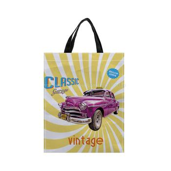 4pcs Classic Car Print Custom Reusable Shopping Bags Polyester  Fabric Grocery Packing Recyclable Bag Tote Handbag Fashion tote bag
