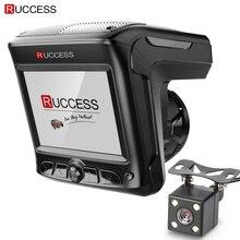 Original Ruccess 3 in 1 Radar Dvr  FHD 1296P Built-in GPS Car Detector Dual lens Car Camera Anti Radar Detector Russian Speedcam