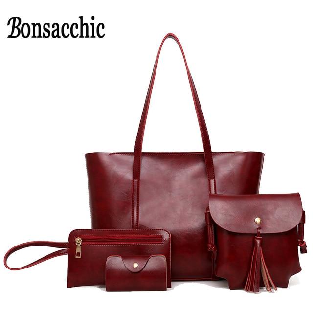87c51b313ee Bonsacchic 4pcs set Women Bag Set Fashion PU Pattern Large Handbag Set  Portable Shoulder Bag
