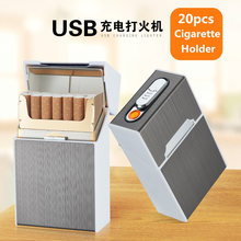 Portable Cigarette Box Case with USB Electronic Lighter 20pcs Cigarette Holder Electric Tungsten Turbo Lighter Gadgets For Men