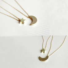 Fashion Necklaces for Women 2016 Two Layered Chain Gold Plated Moon Star Pendent Women Statement Simple Moon Necklace