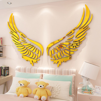 Wings creative bedroom layout ins acrylic wall stickers 3d self adhesive living room stickers Bedside wall decoration paint