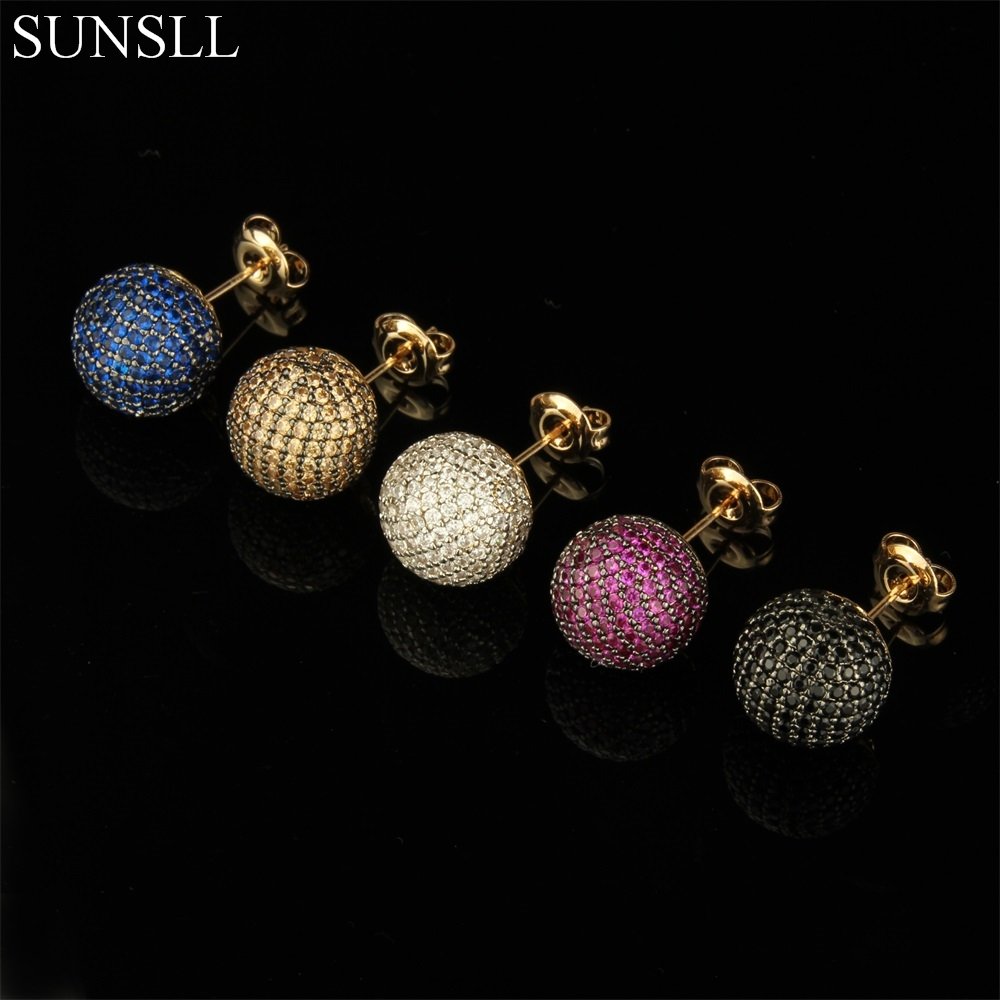 SUNSLL Golden Color Copper Pins Multicolor Cubic Zirconia Stud Earrings Women's Party Fashion Jewelry Cobre CZ Brincos