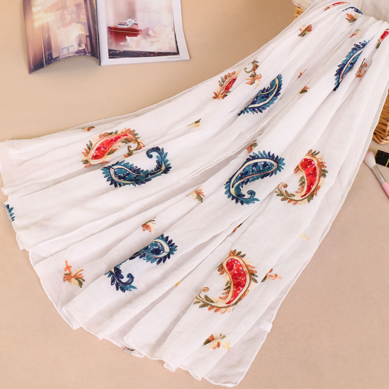 Women's embroidery cotton cashew floral bohemian shawls hijab muslim wraps headband long scarves/scarf 10 color 180*90cm