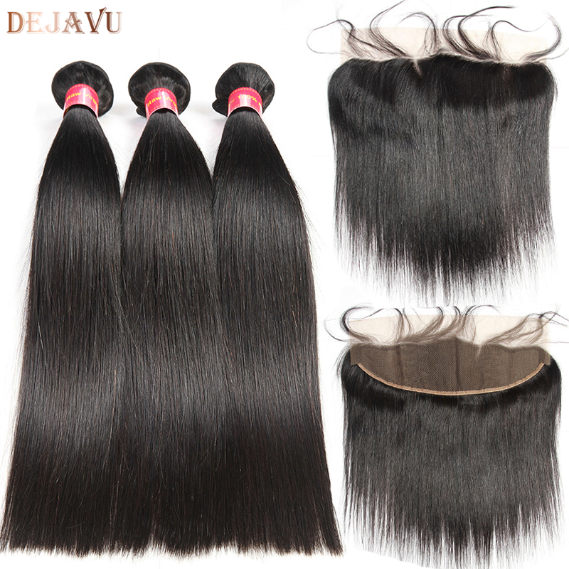 Frontal With Bundles Indian Straight Hair Bundles With Frontal 100% Human Hair Bundles With Frontal Non Remy Dejavu Hair