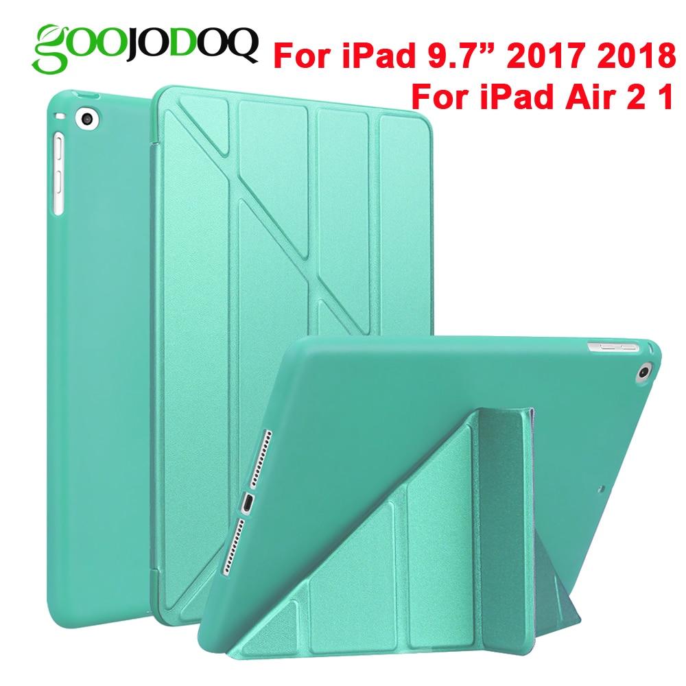 For iPad 2018 Case Air 2 Air 1 5 6 Case 9.7 Smart Mutiple Folding Cover Caes for iPad Air 2 / 2018 A1893 / 2017 9.7 Coque Funda slim folio for ipad air 1 air 2 case kickstand shockproof silicon back cover for ipad air 1 2 for ipad 5 6 smart funda