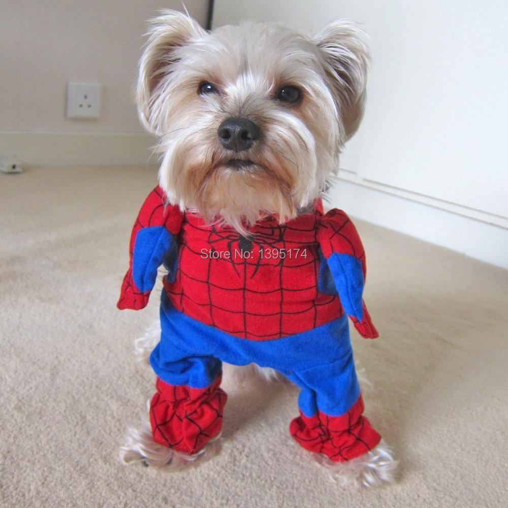 2015 New <font><b>Pet</b></font> Cat Dog <font><b>Spiderman</b></font> <font><b>Costume</b></font> Suit Puppy Dog Clothes Superhero Outfit Apparel Clothing for small dogs Free Shipping 25