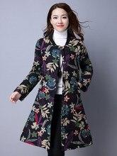 VANLED Hot Selling Woman Winter Jacket Vintage Ethnic Style Slim Cotton Coat Parka O-Neck Pringting Warmth Womens Down Jackets