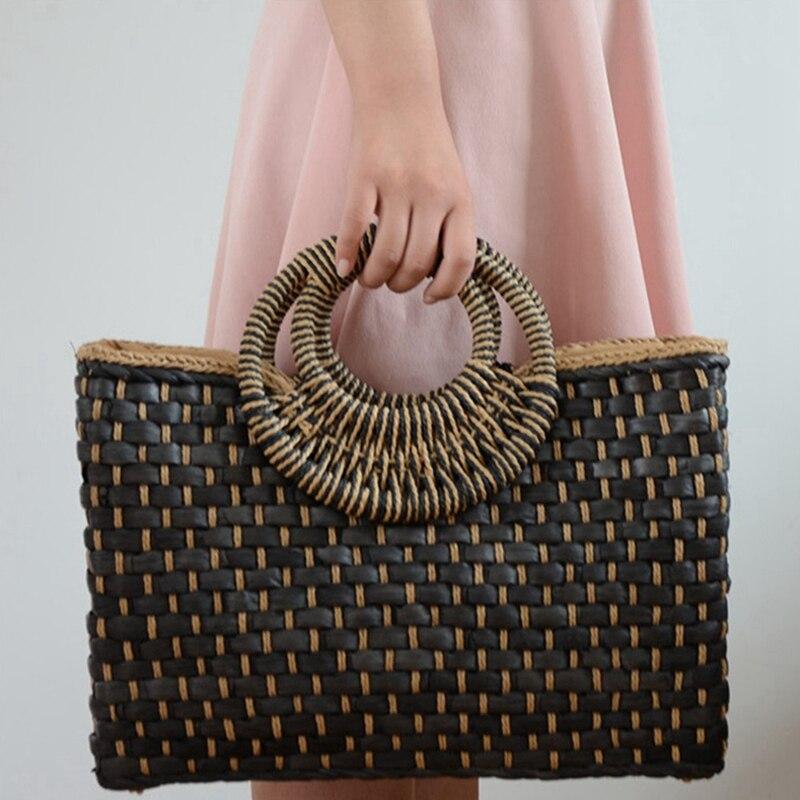 Straw Basket Shopper Bag in Black Color