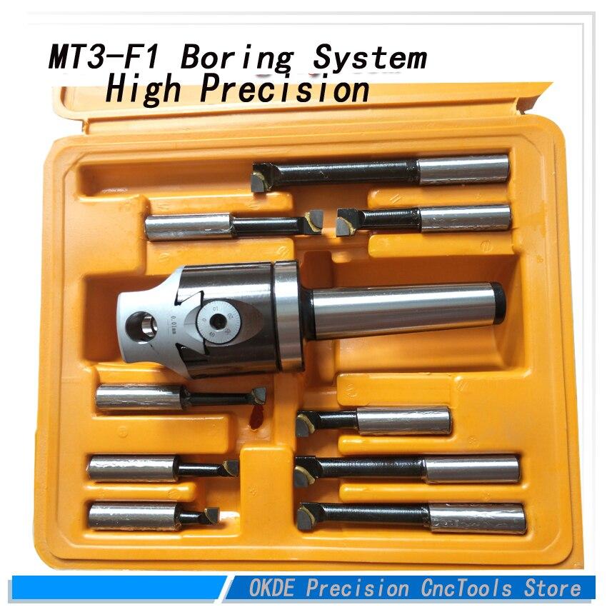 MT3 M12 Arbor F1 -12 50mm boring head and 9pcs 12mm boring bars, boring head set 1 pc f1 2 inch boring head with mt2 boring shank and 9pcs 12mm boring bars boring head set