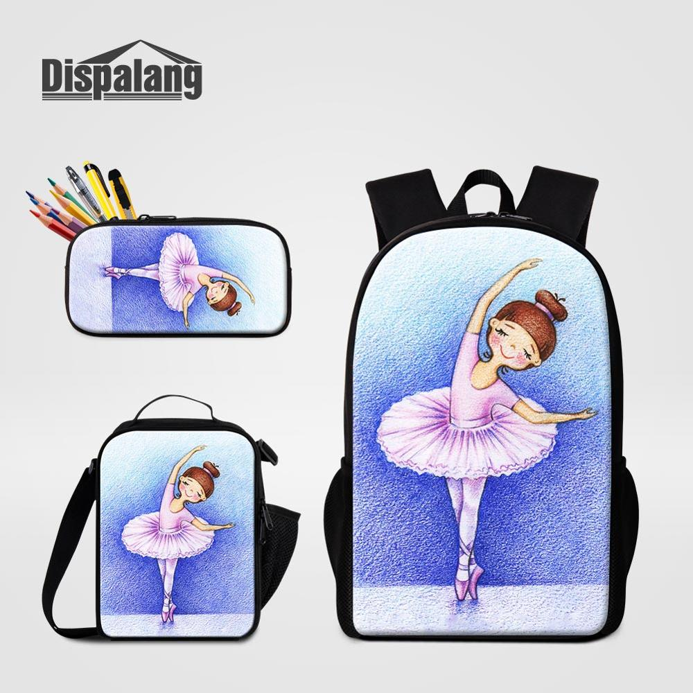 3 PCS Bags Set Ballet Lunchbag Schoolbags Pencil Case For Student Girls Fashion Backpack For School Anime Yoga Pen Bag Mochilas